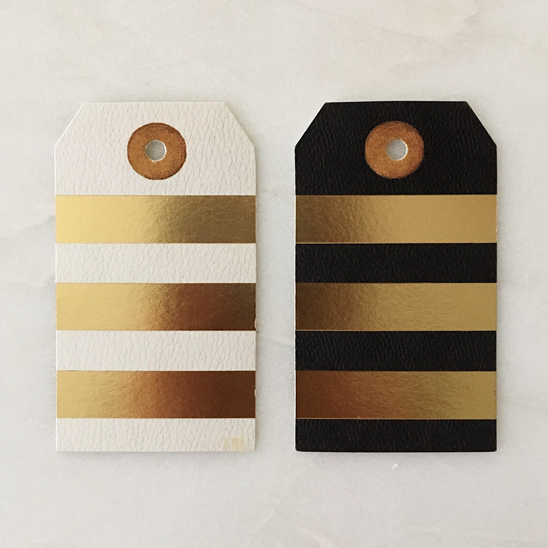 Foil leather stripes gift tags