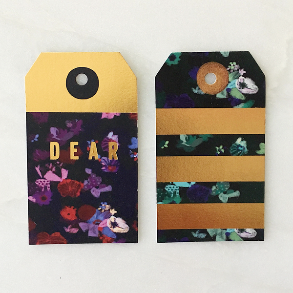 Foil green and purple flowers gift tags