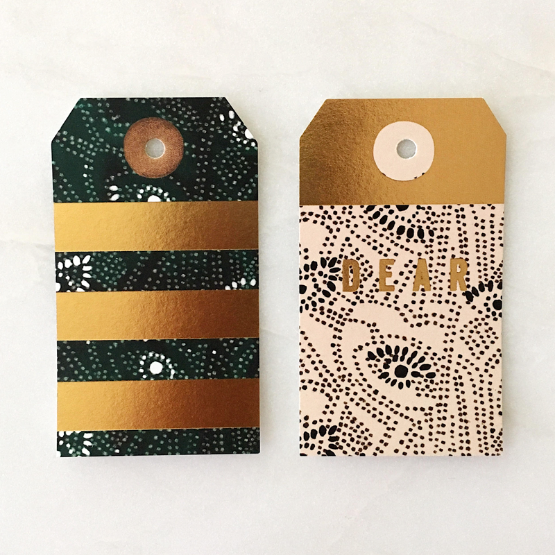 Foil green and peach gaze gift tags