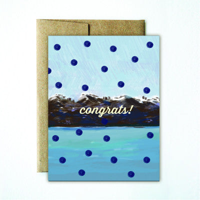 Polka dot mountain congrats card - Ferme à Papier