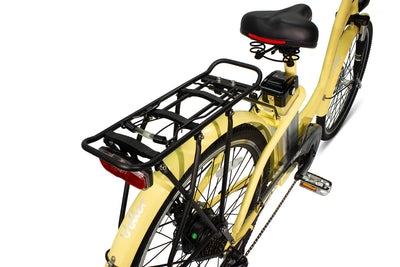 AmericanElectric Veller 2021 Step Through City Electric Bike Ivory Rear Rack