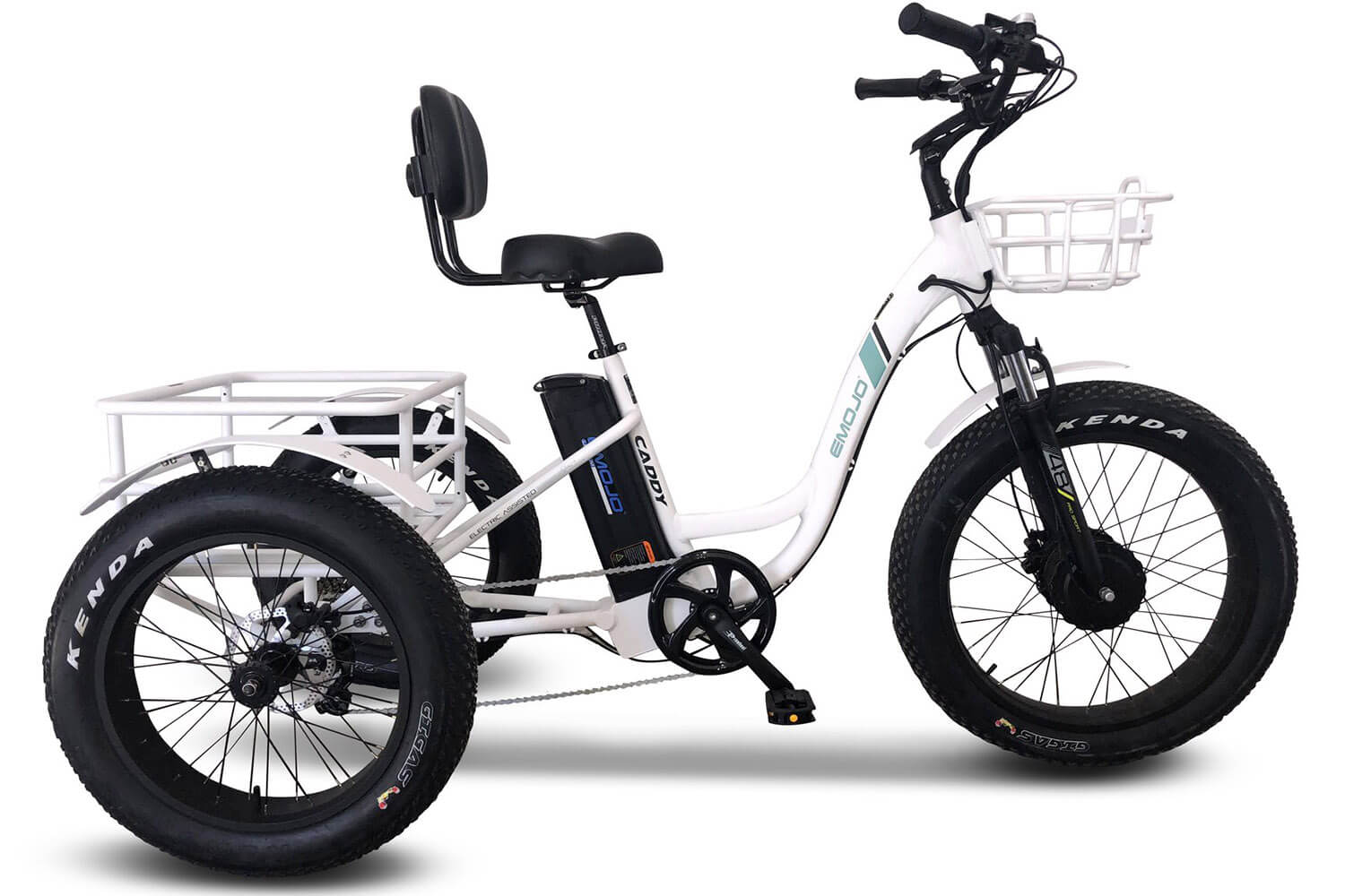 EMOJO Caddy Pro 2020 Fat Tire Electric Trike Tricycle White