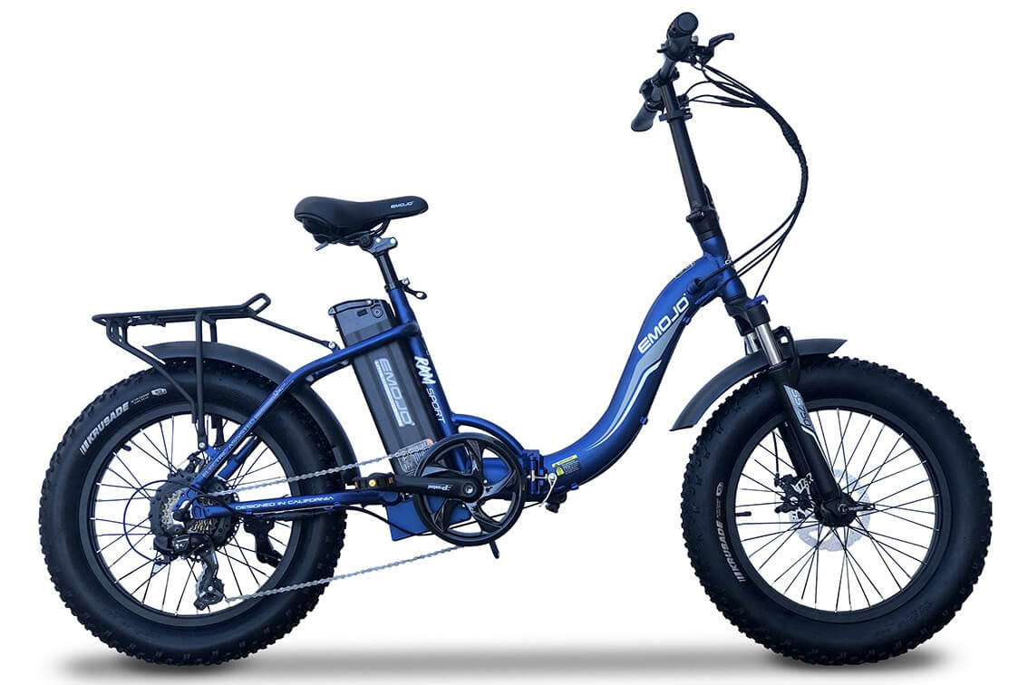 EMOJO RAM SS Folding Fat Tire Electric Bike Blue
