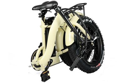 Eunorau 48V500W 20'' Foldable Step-Thru Fat Tire Electric Bike Cream Folding 3