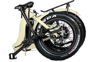 Eunorau 48V500W 20'' Foldable Step-Thru Fat Tire Electric Bike Cream Folding 2