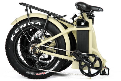 Eunorau 48V500W 20'' Foldable Step-Thru Fat Tire Electric Bike Cream Folding