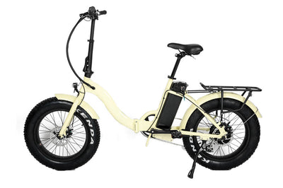 Eunorau 48V500W 20'' Foldable Step-Thru Fat Tire Electric Bike Cream