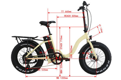 Eunorau 48V500W 20'' Foldable Step-Thru Fat Tire Electric Bike Cream Dimensions