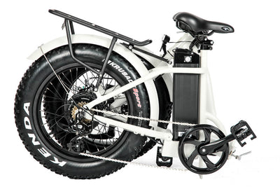 Eunorau 48V500W 20'' Foldable Step-Thru Fat Tire Electric Bike White Folding