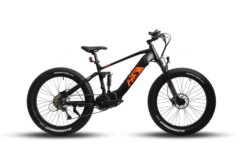 Eunorau FAT-HS 48V1000W Dual Battery Design All Terrain Full Suspension Fat Tire Electric Mountain Bike Black Orange 3
