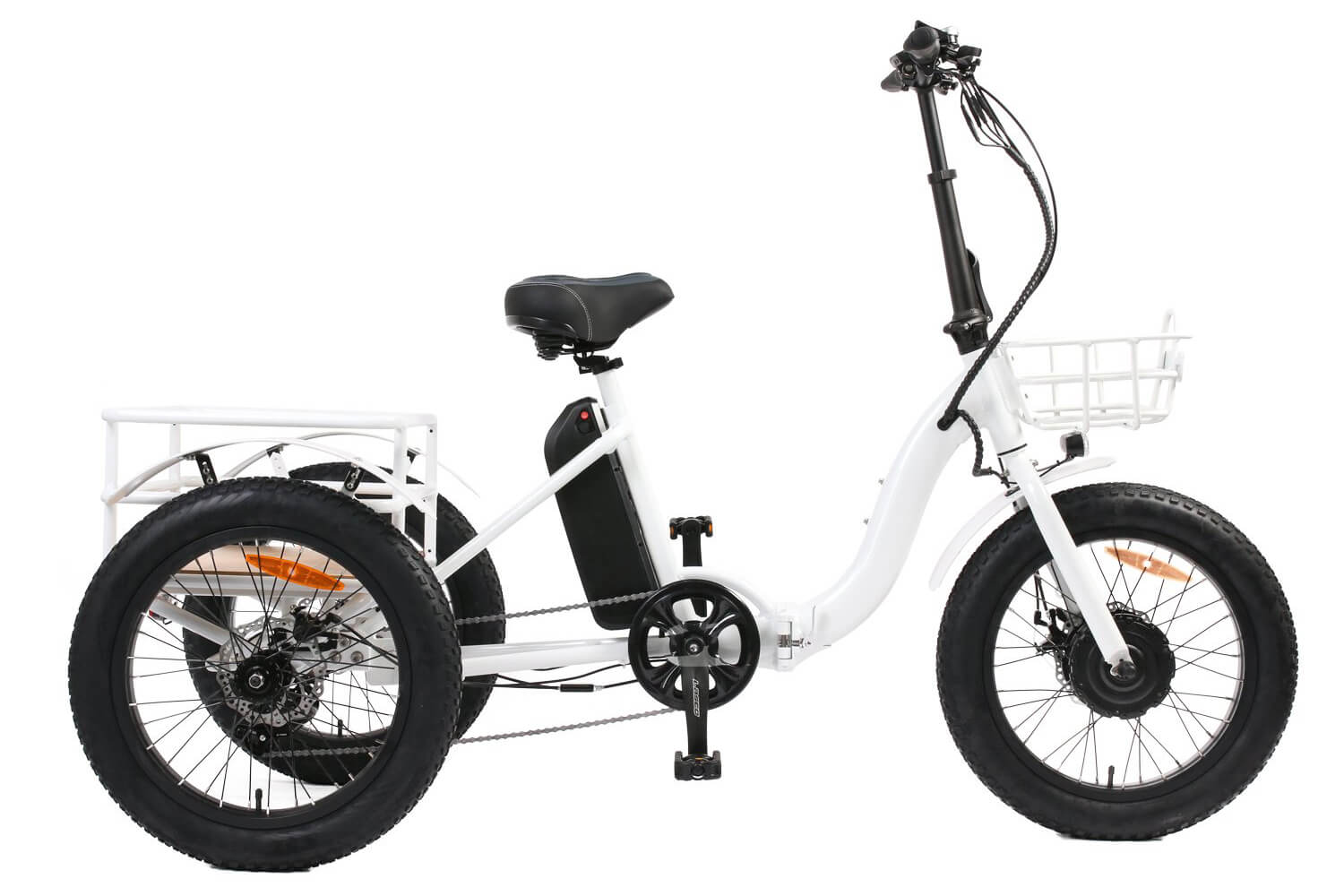 Eunorau NEW-TRIKE 48V500W 20'' Step-Through Fat Tire Folding Electric Tricycle White