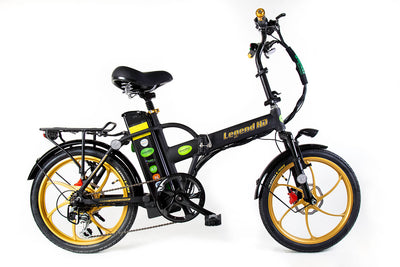 Green Bike Electric Motion Legend HD Folding Electric Bike Black Gold