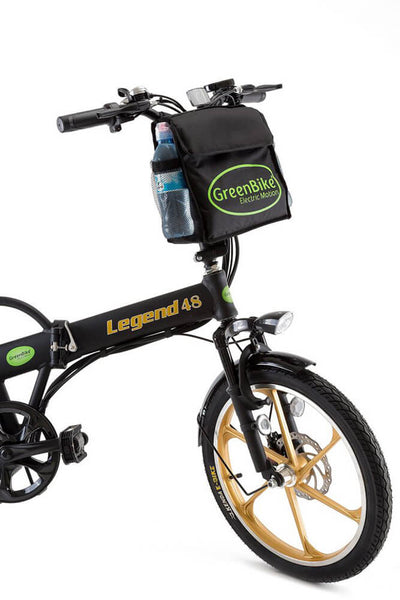 Green Bike Electric Motion Legend HD Folding Electric Bike Black Gold Bag