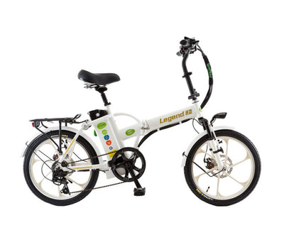 Green Bike Electric Motion Legend HD Folding Electric Bike White White
