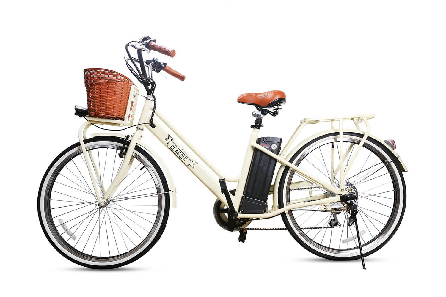 "Nakto Classic 26"" City Cruiser Electric Bicycle Vintage White"