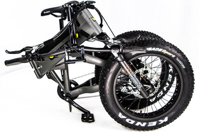 QuietKat 2020 Voyager Fat Tire Electric Folding Bike Folded Charcoal