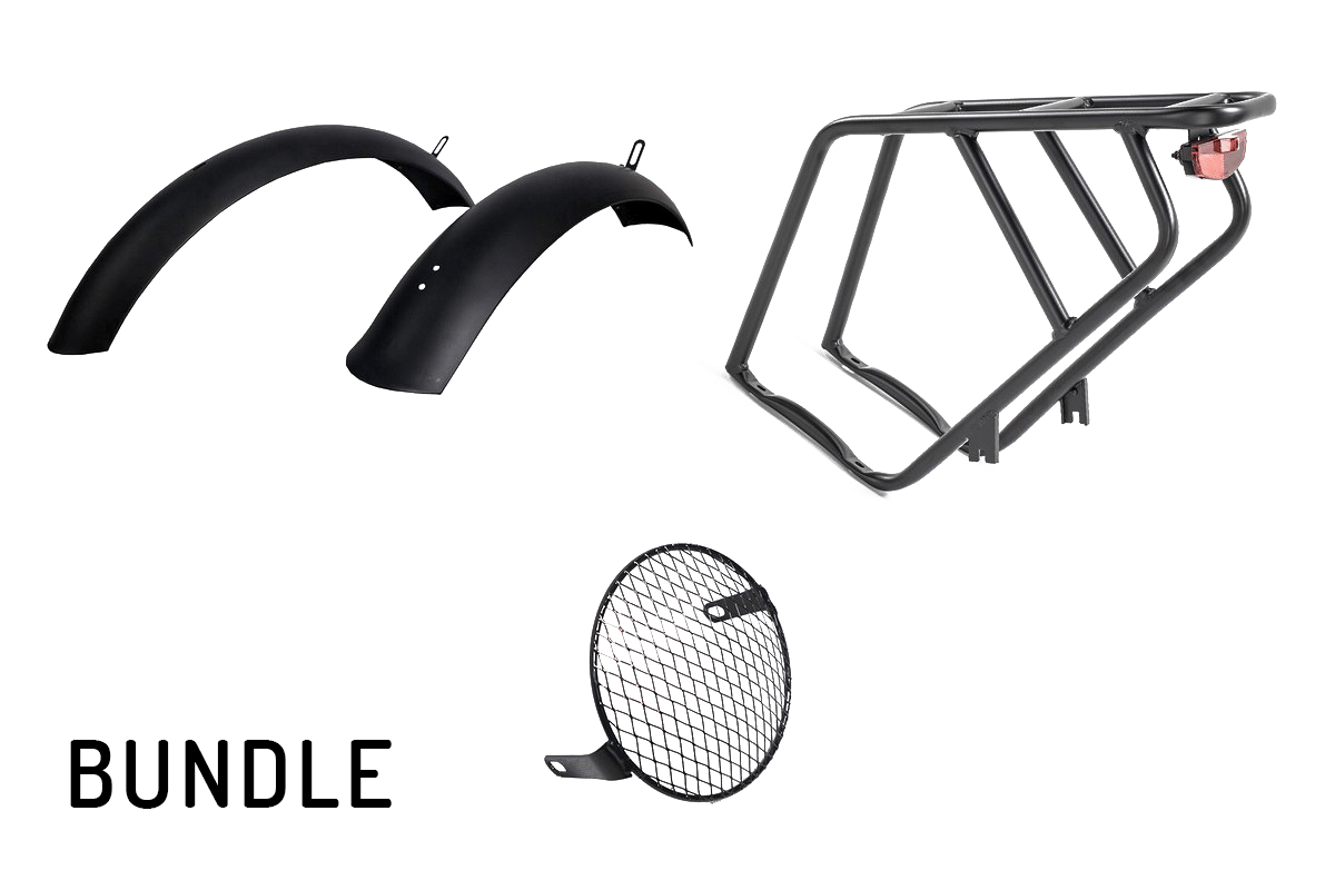 Rear Rack & Tail Light + Fenders + Headlight Protector Bundle For CIVI (REVI) Cheetah - The Cafe Racer