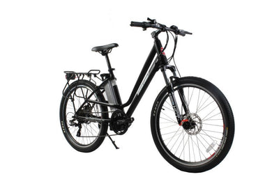 X-Treme Trail Climber Elite Max 36 Volt Step-Through Electric Mountain Bicycle Black Side 2