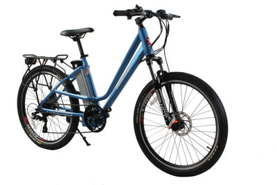 X-Treme Trail Climber Elite Max 36 Volt Step-Through Electric Mountain Bicycle Metallic Blue Side 2