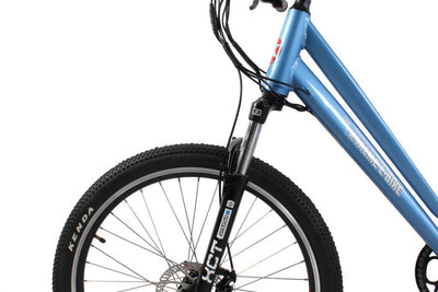 X-Treme Trail Climber Elite Max 36 Volt Step-Through Electric Mountain Bicycle Metallic Blue Front Suspension