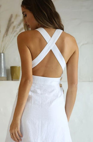 FIORELLA CROSSBACK DRESS - WHITE - Axariya's Closet