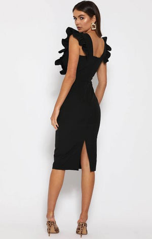 FRILL PLUNGE MIDI DRESS - Axariya's Closet