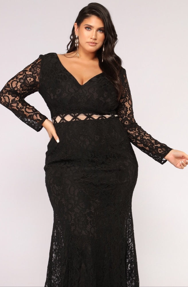 Audrey Long Sleeve Cut Out Lace Gown - Axariya's Closet