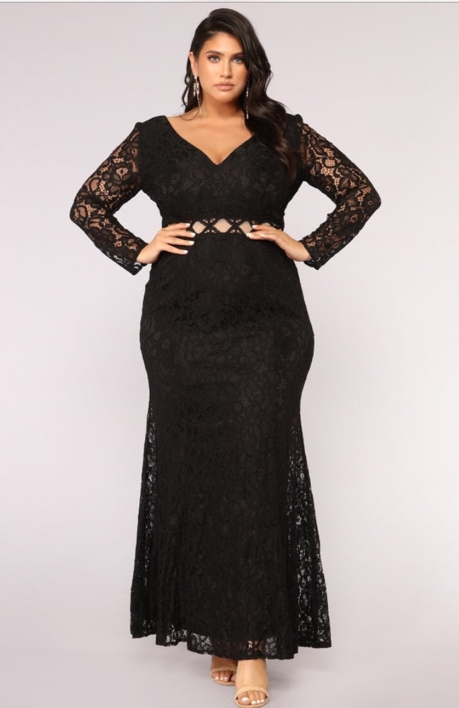 Audrey Long Sleeve Cut Out Lace Gown