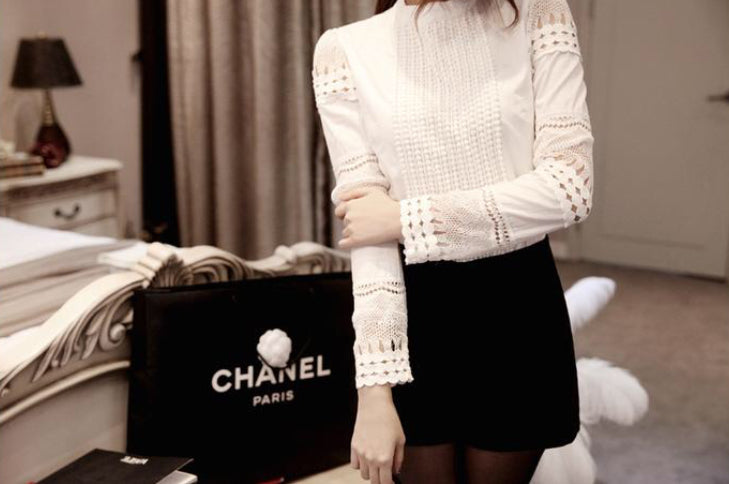 White Long Sleeve Cut Out Blouse