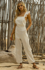 First Kiss White Ruffled Jumpsuit