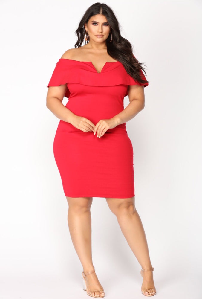 Off the Shoulder Red Bodycon Dress