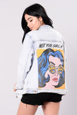 Oversized Pop Art Light Denim Jacket
