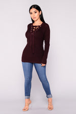 Lace-Up Sweater - Axariya's Closet