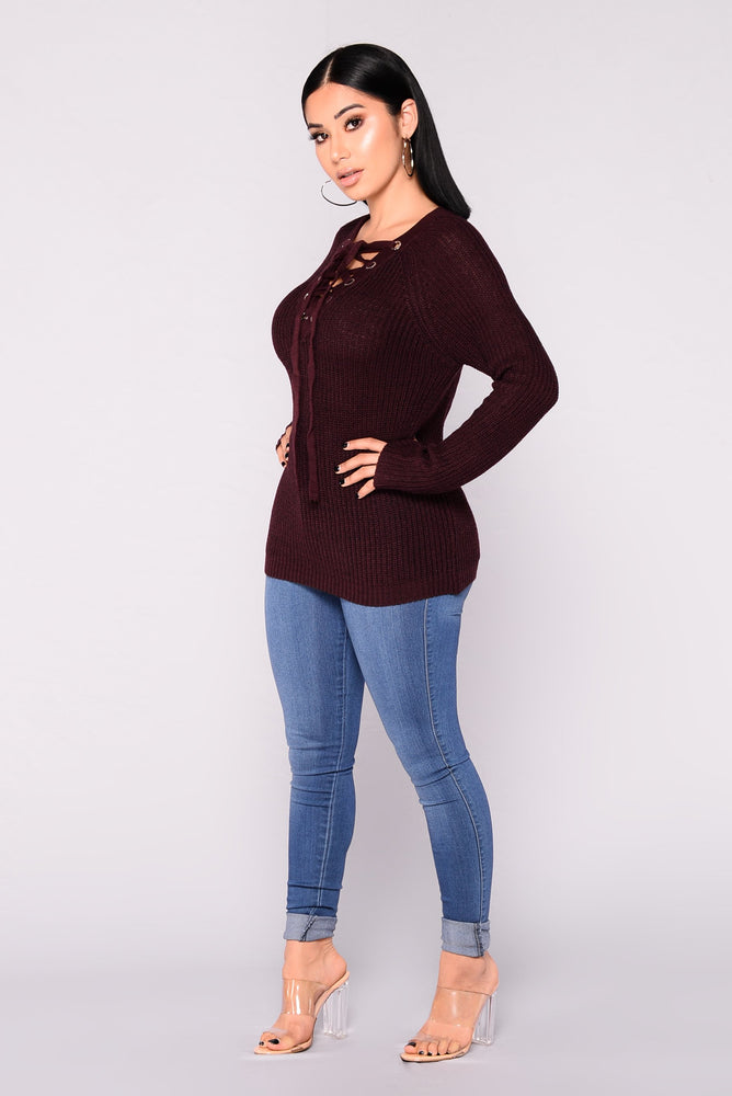 Heiress Burgundy Lace-Up Sweater - Axariya's Closet