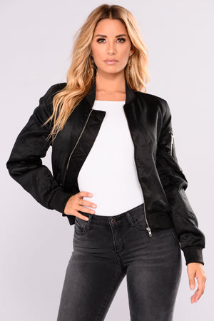 Shay Satin Bomber - Black