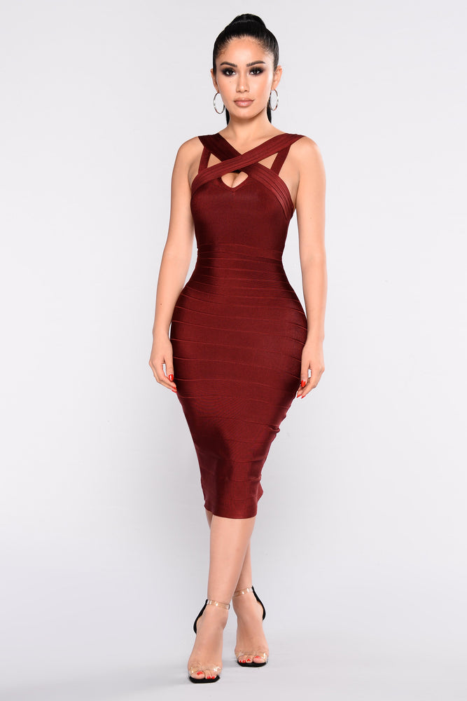 Confidence Merlot Bandage Dress