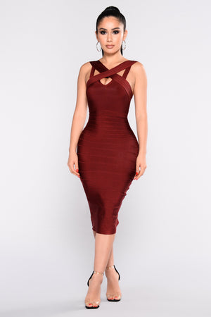 Confidence Merlot Bandage Dress - Axariya's Closet
