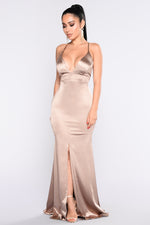 Champagne Satin Maxi Dress - Axariya's Closet