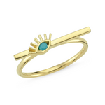 Turquoise Evileye Ring 14K Yellow Gold