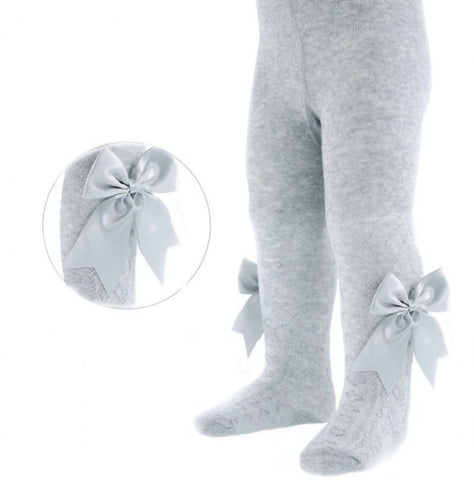 Grey big bow tights