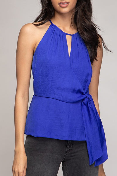 Charlotte Tie Front Top in Royal Blue