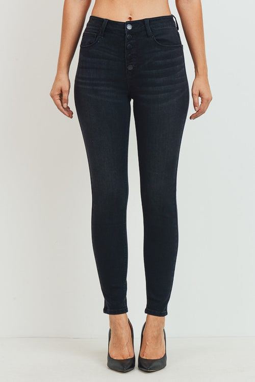 Charleston High Rise Button Jeans in Black