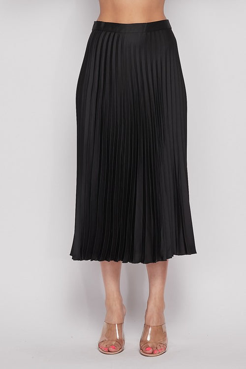 Vintage Vogue Pleated Midi Skirt in Black