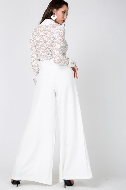 Hamptons High Waist Pants in White