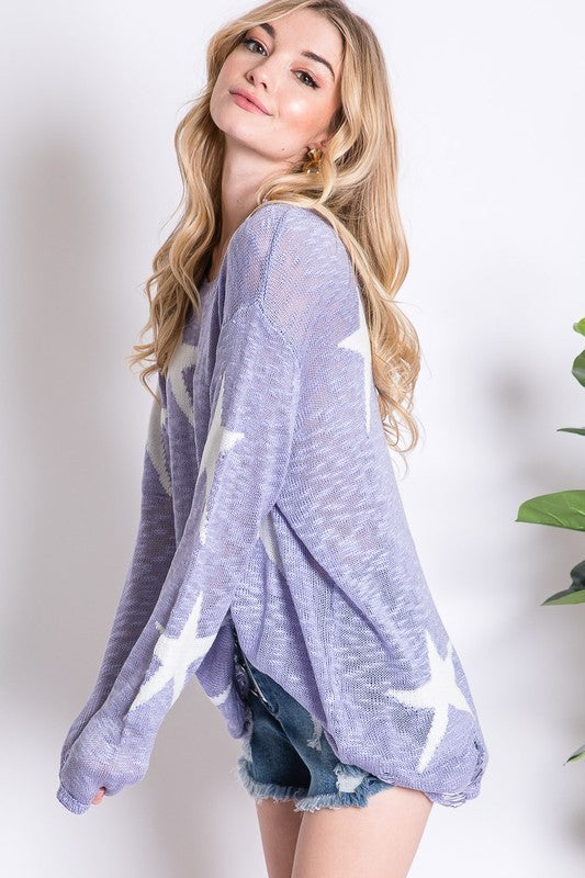Shooting Star Distressed Sweater in Lilac