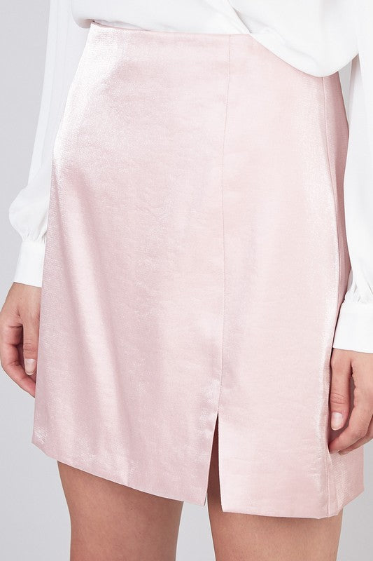 Made Me Blush Metallic Skirt in Rose Pink