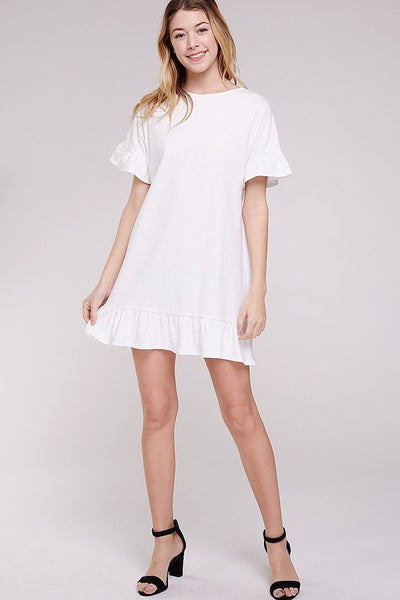 Sherri Ruffle Dress in Ivory