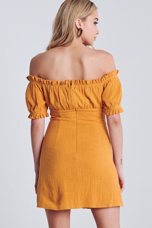 Boho Babe Off Shoulder Dress in Honey