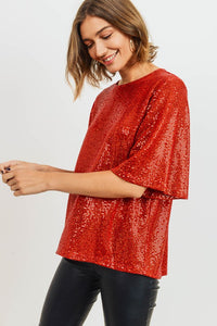 Spice It Up Sequin Top in Red