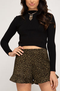 Feline Frills Ruffled Leopard Shorts in Olive